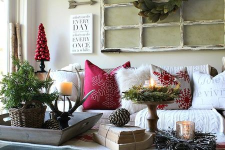 Couch Decorated For Christmas