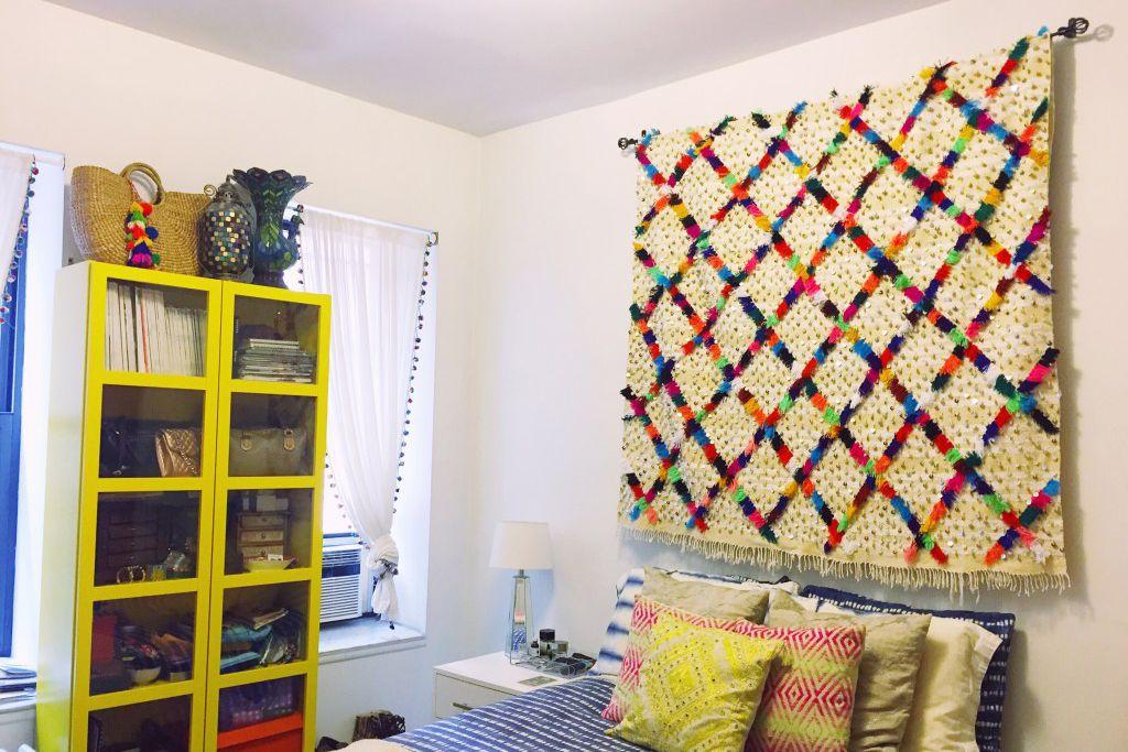 marroquí colorido manta de boda pared de dormitorio