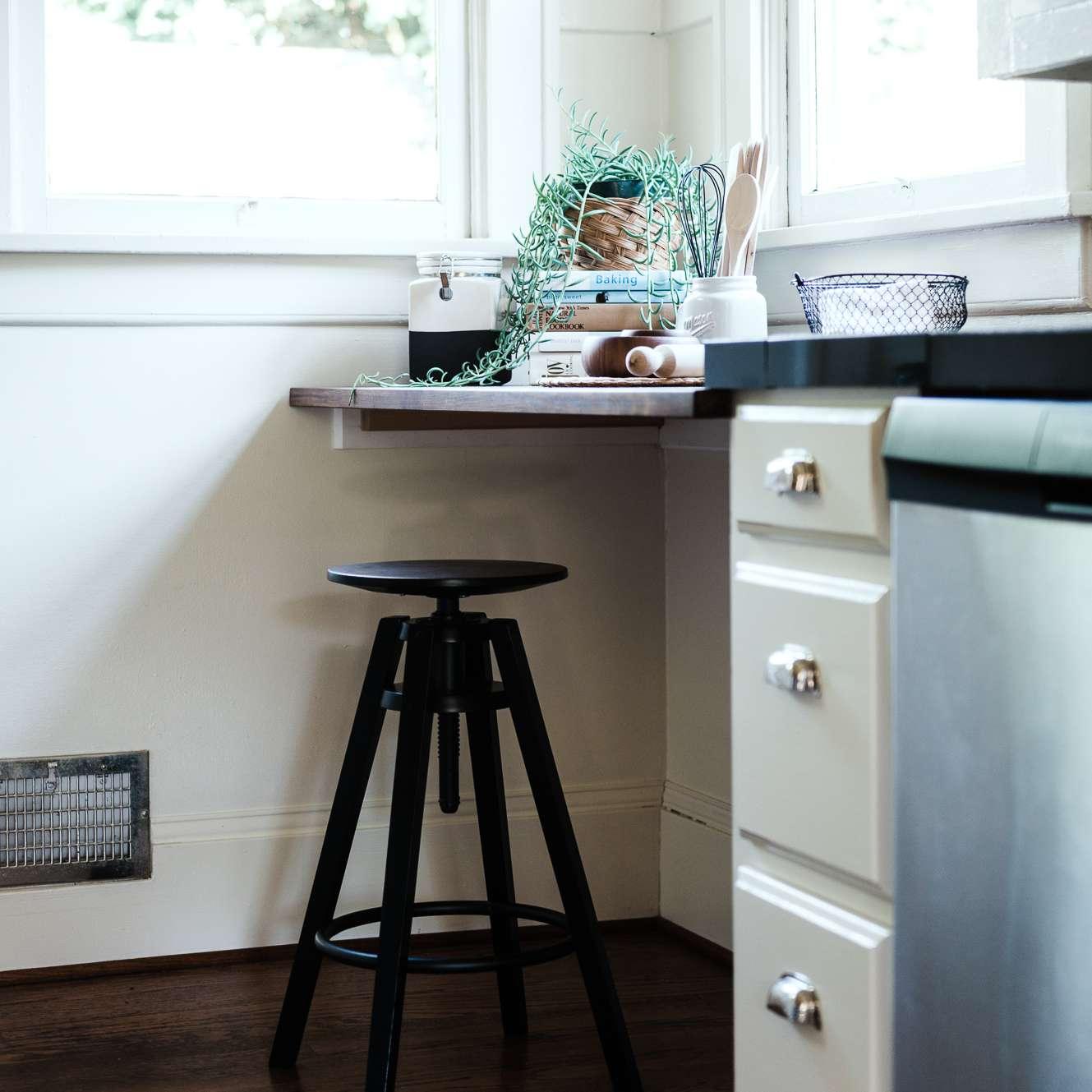 kitchen with a corner shelf installed