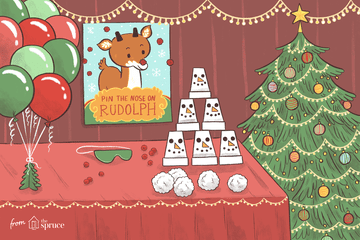 Illustration of games to play at a Christmas party