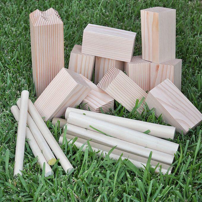 Wooden blocks in a yard