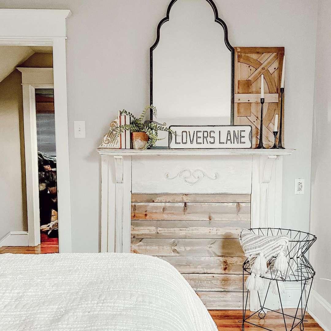 wood panel behind mantel