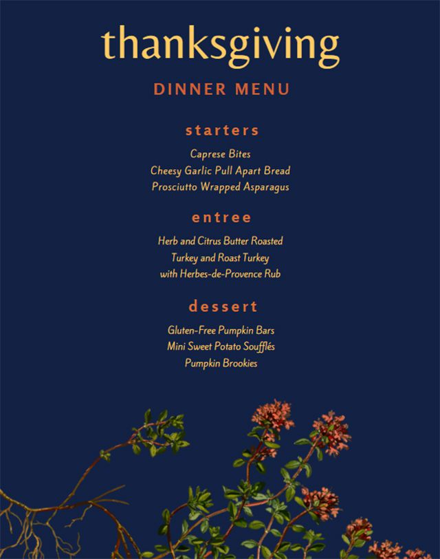 A blue and floral Thanksgiving dinner menu