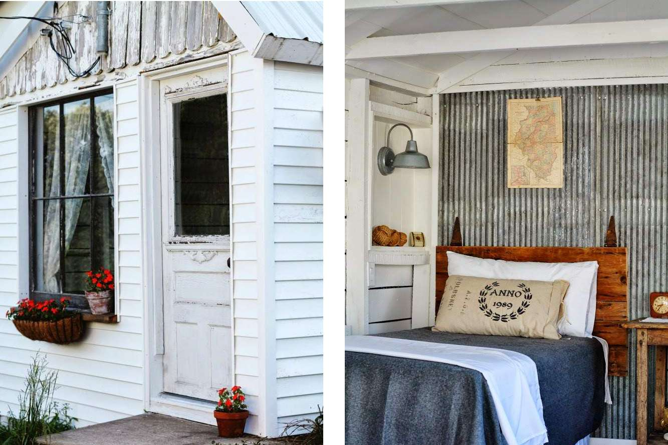 rustic shed guest room