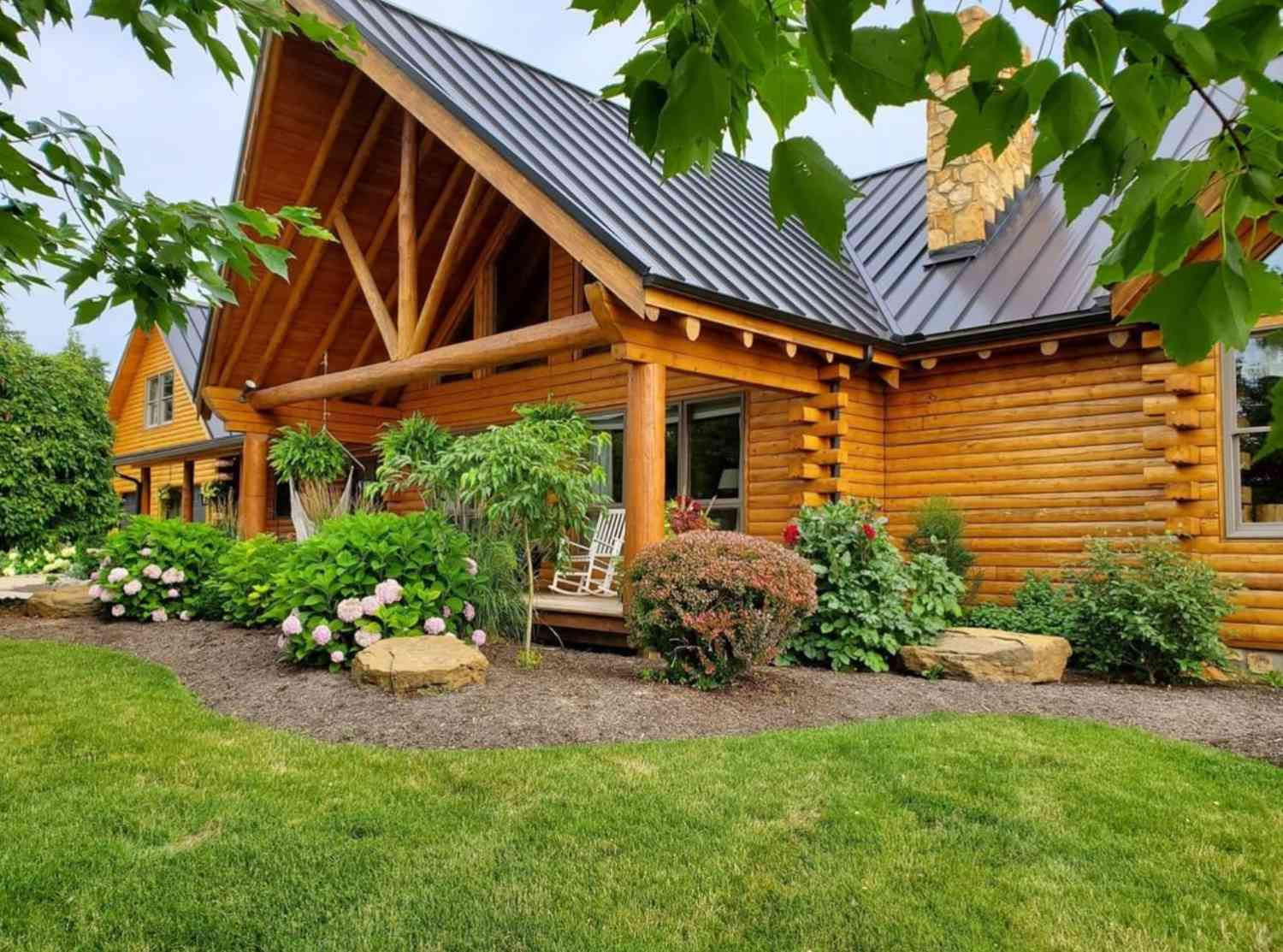log home with front porch