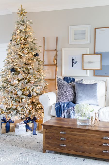 Blue Living Room Decorated With Christmas