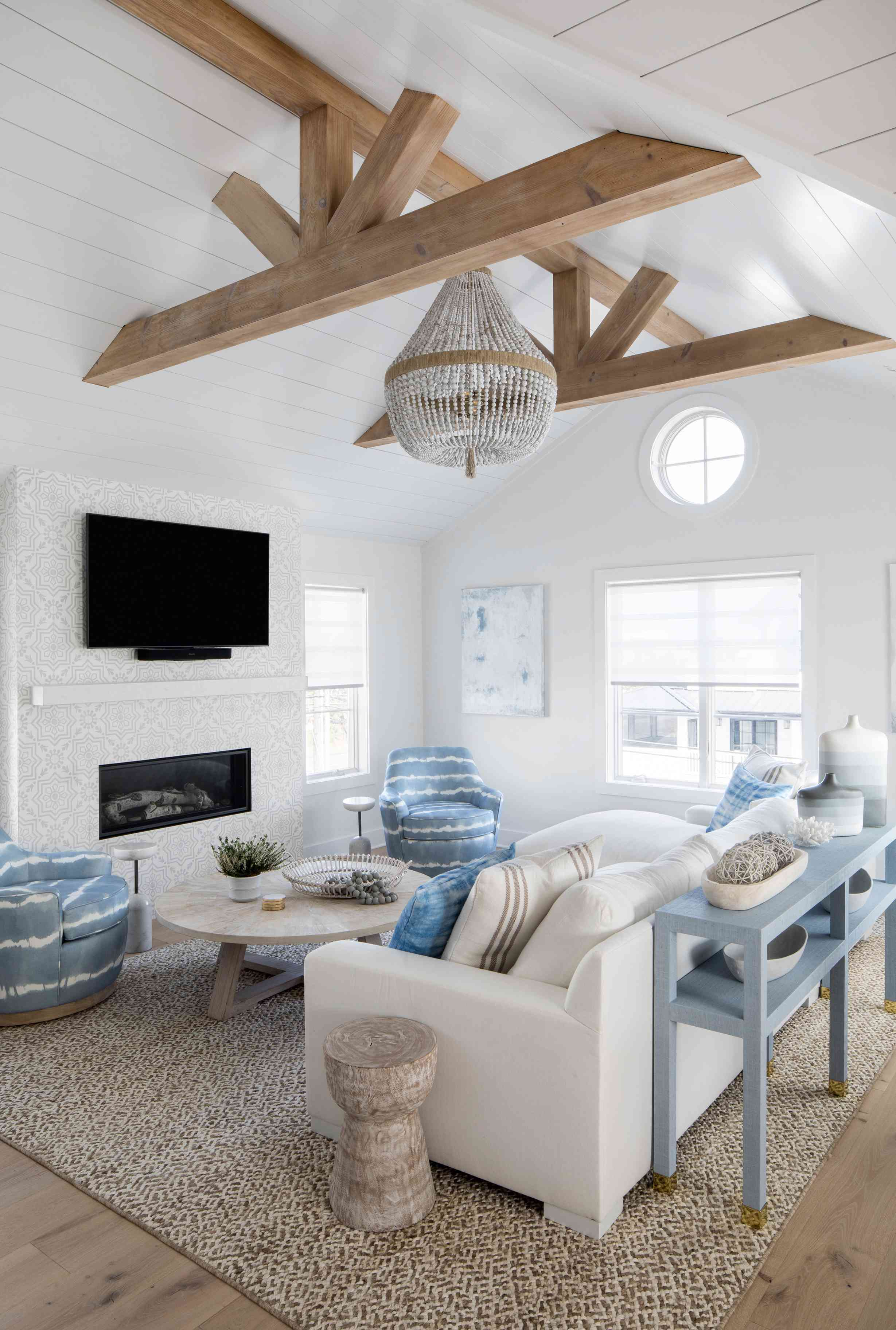Karen B. Wolfe's Long Beach Island home with raised ceilings in living area