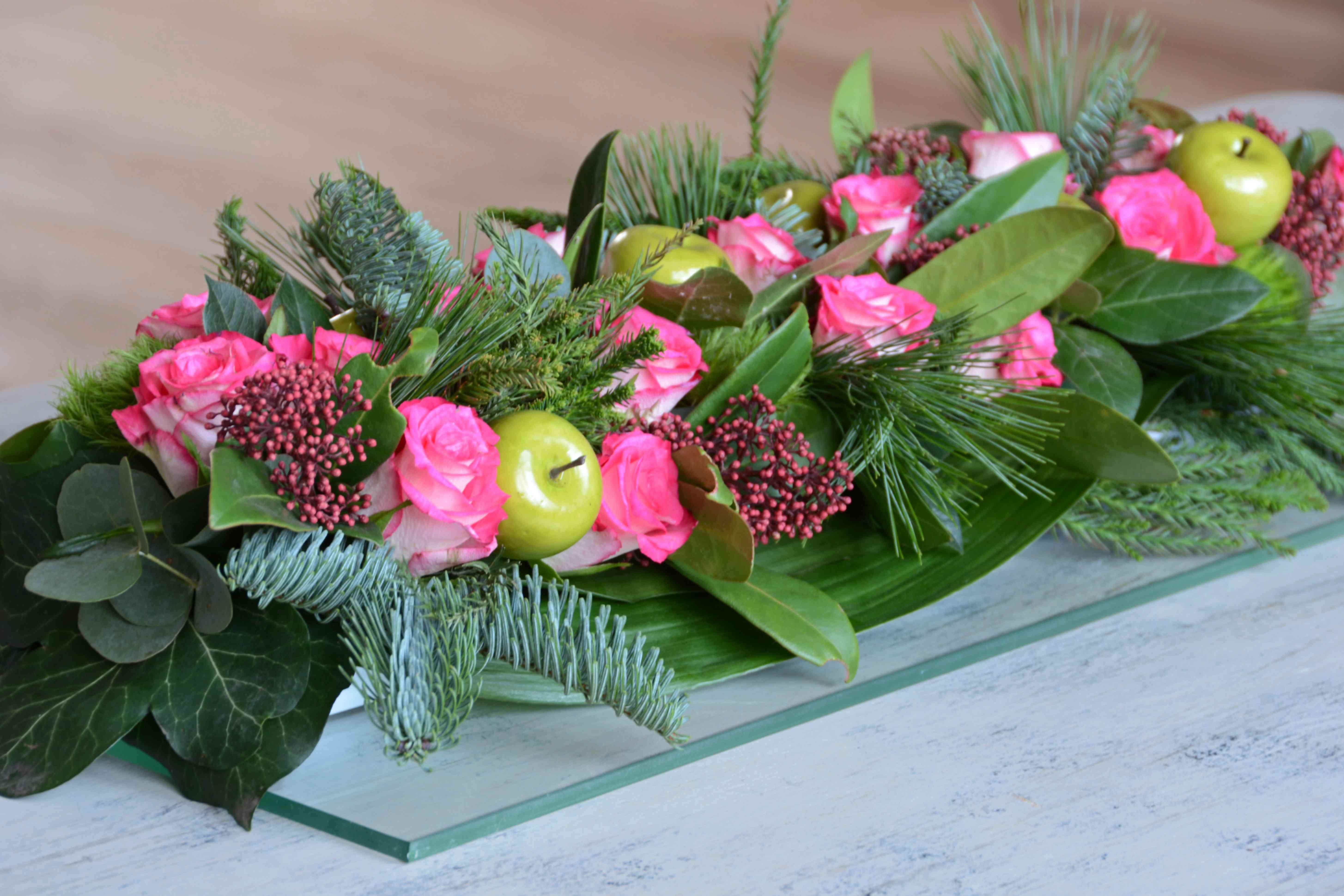 Centro de mesa de flores rosas