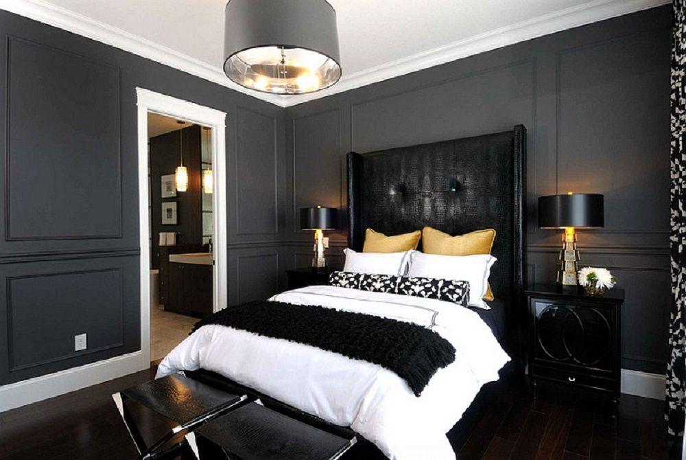 Dormitorio contemporáneo negro.