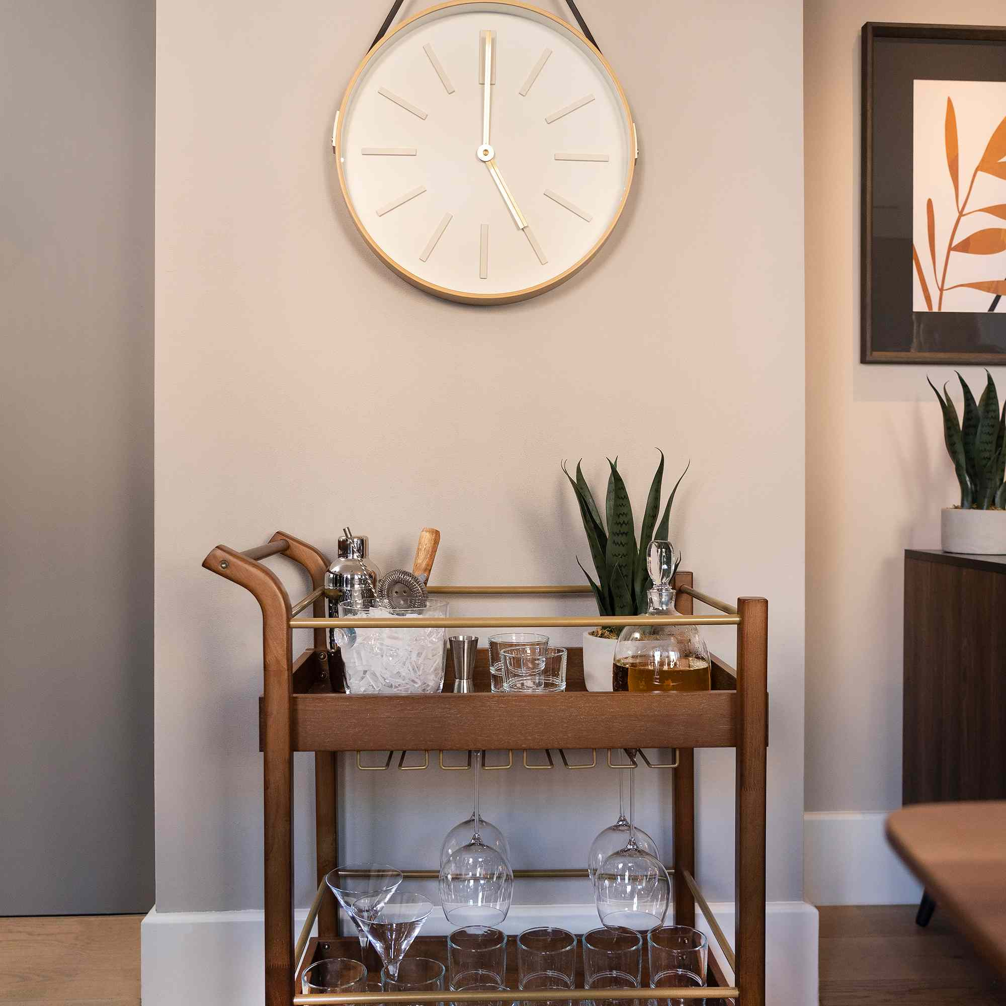Clock and bar cart from Studio 3B by Bed Bath & Beyond