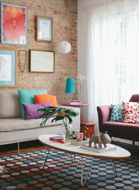 Colorful, modern living room