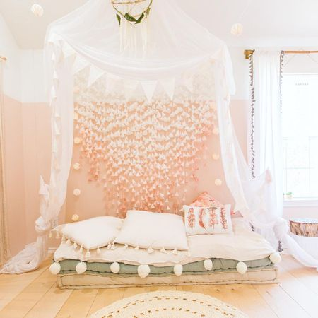 153d07328707 Beautiful boho chic girl's room with canopy and floor bed