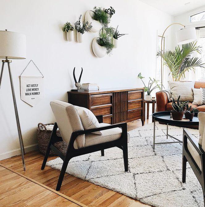 sala de estar con vegetación y una alfombra de felpa