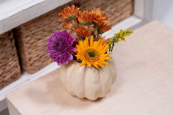 planter made from a pumpkin