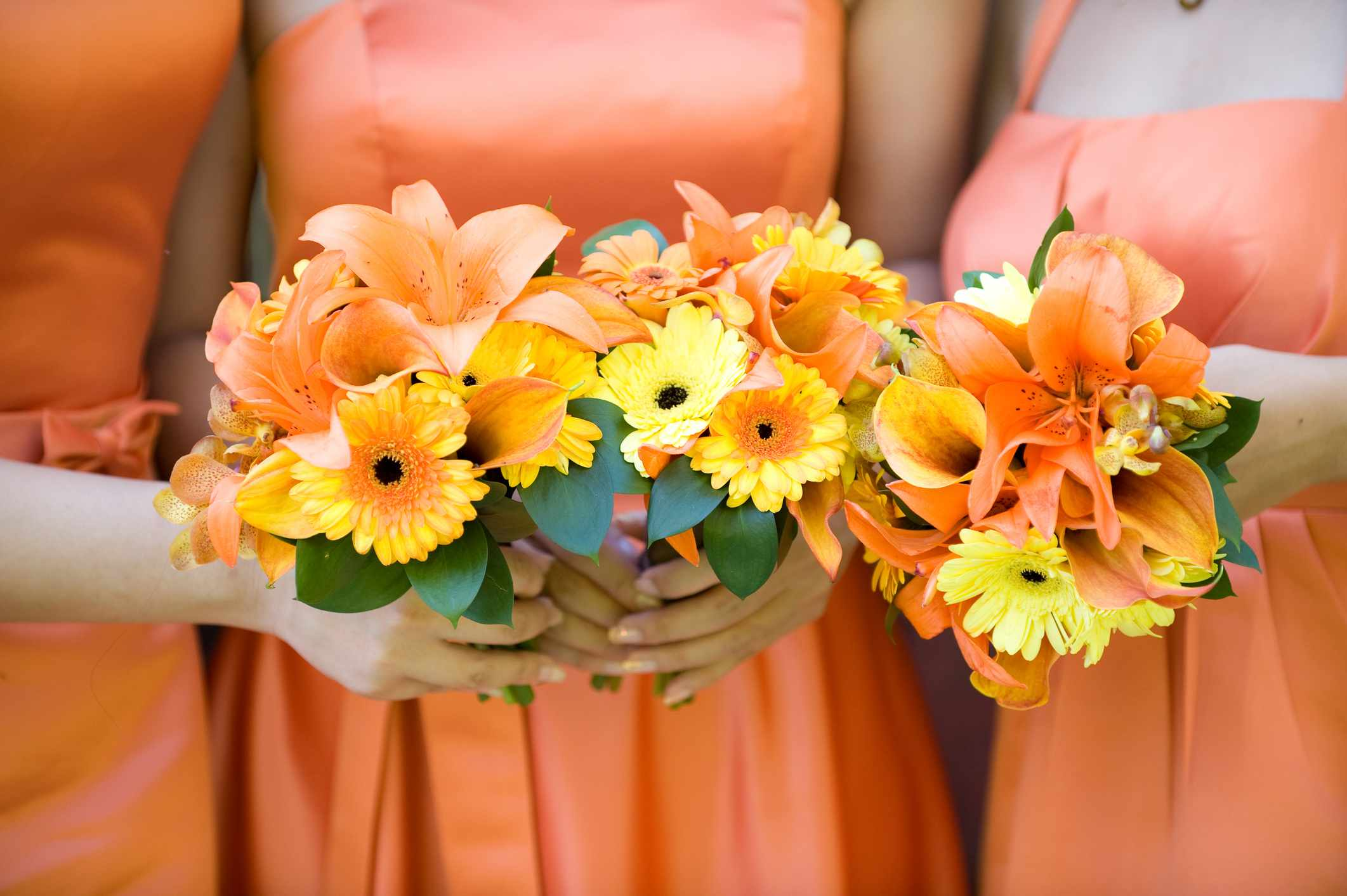 Gerbera Daisy and Lily Bridesmaids Bouquets