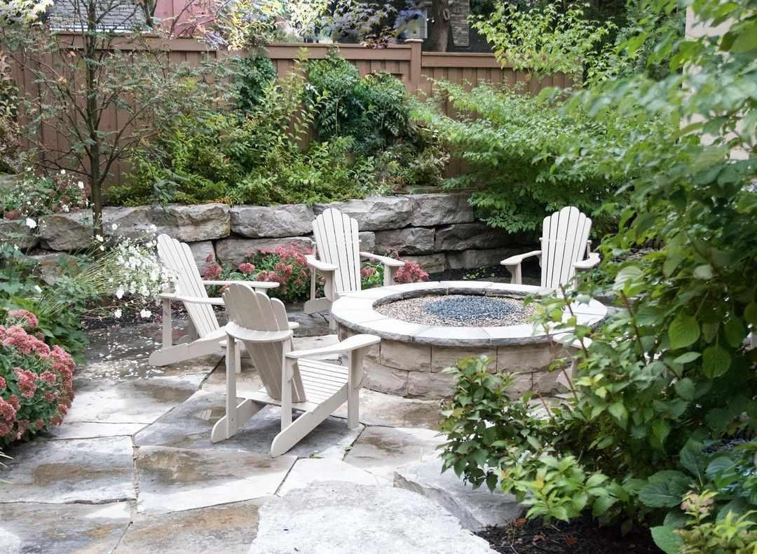 Sunken patio surrounding by retaining walls