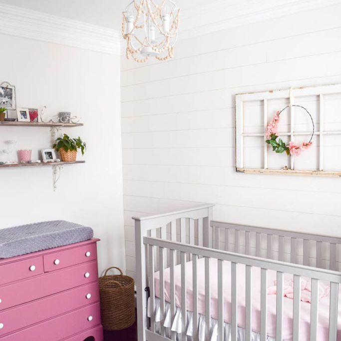 Pink and white farmhouse nursery