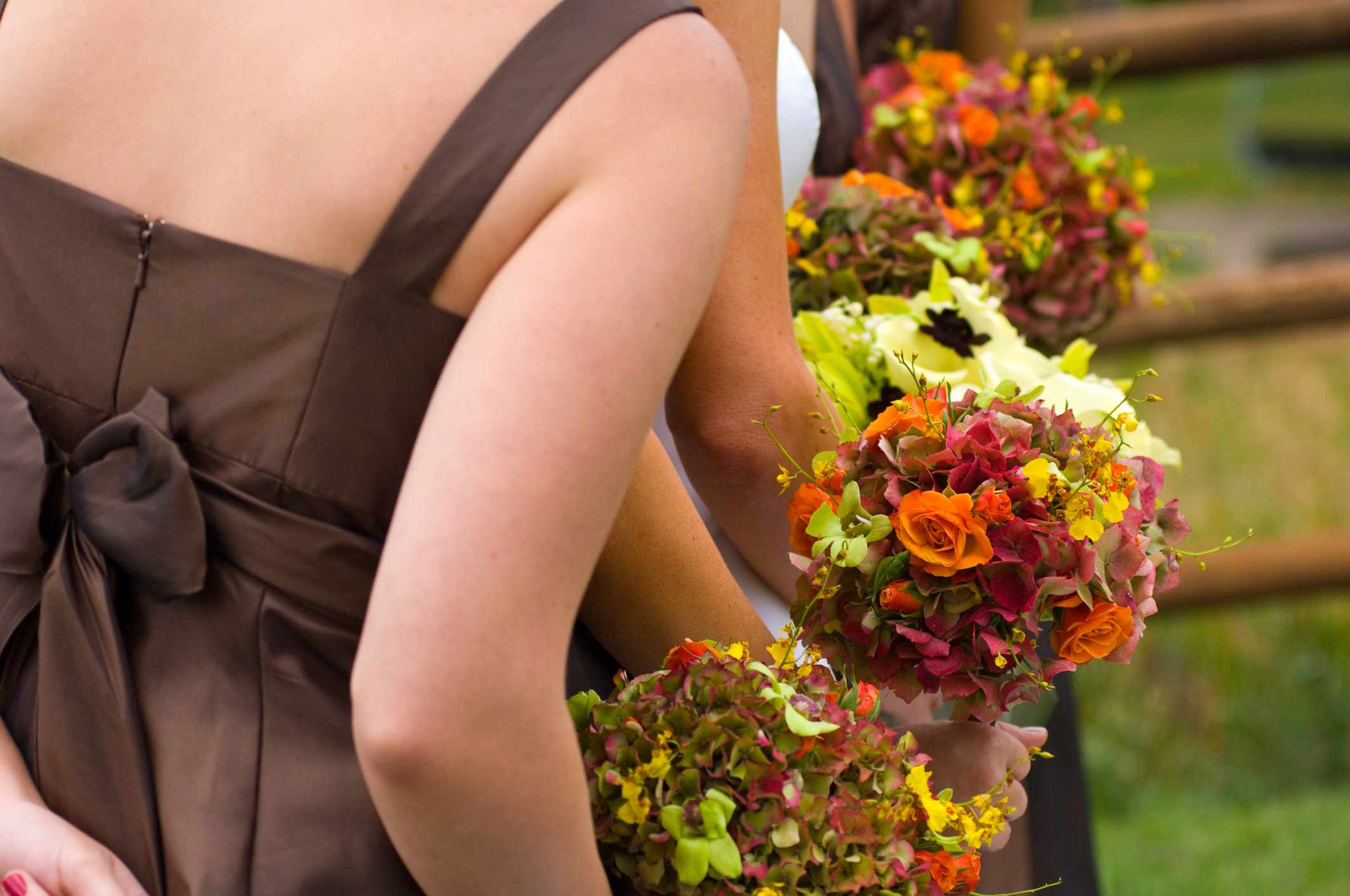 Brown Bridesmaid Dresses and Fall Bouquets
