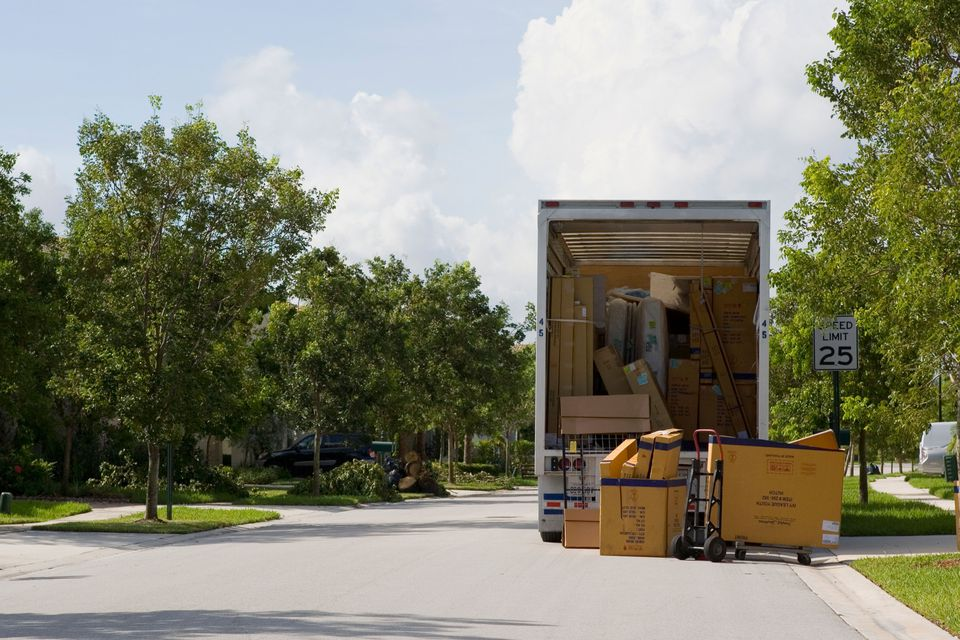Moving truck on residential neighborhood