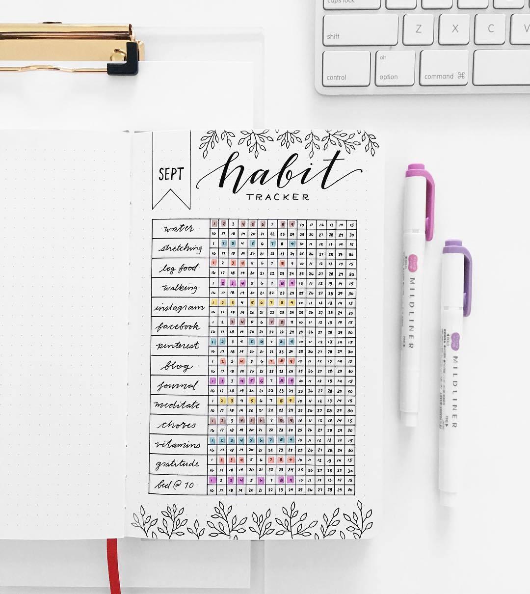Habit tracker bullet journal idea