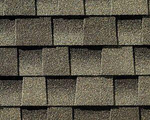 A close-up of asphalt shingles