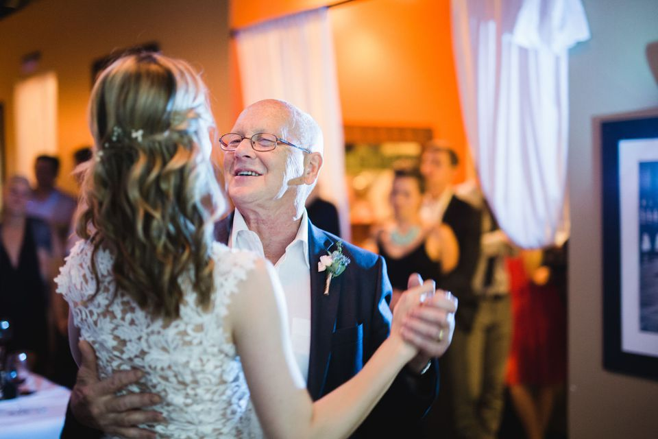 Father of the bride dancing with his daughter at a wedding reception