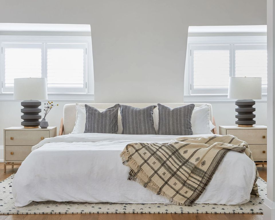 neutral bedroom with balanced symmetry