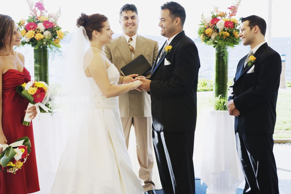 Multi-ethnic couple getting married