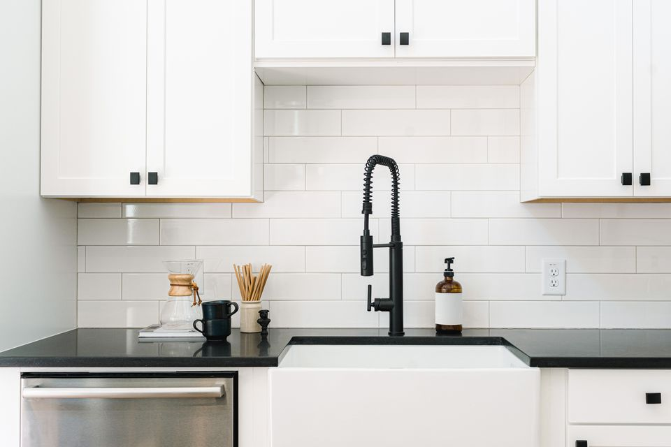 Clean white kitchen subway tile backsplash