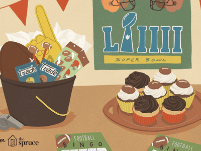 illustration of football decor and party snacks
