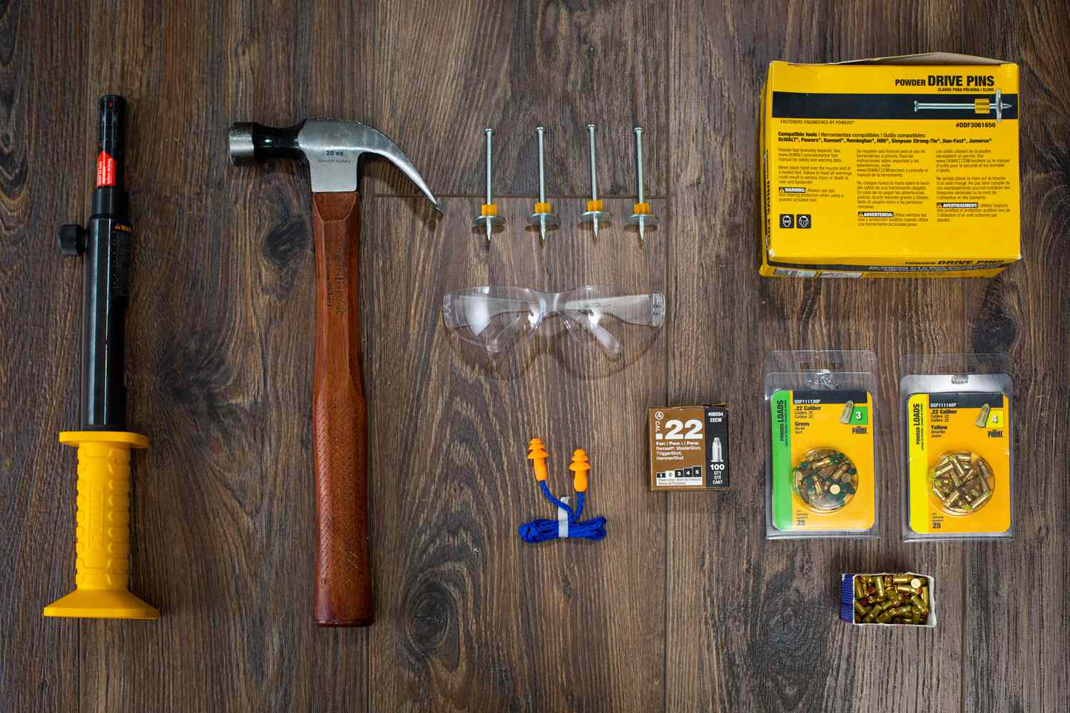 Materials and tools to use a concrete nail gun on wooden surface