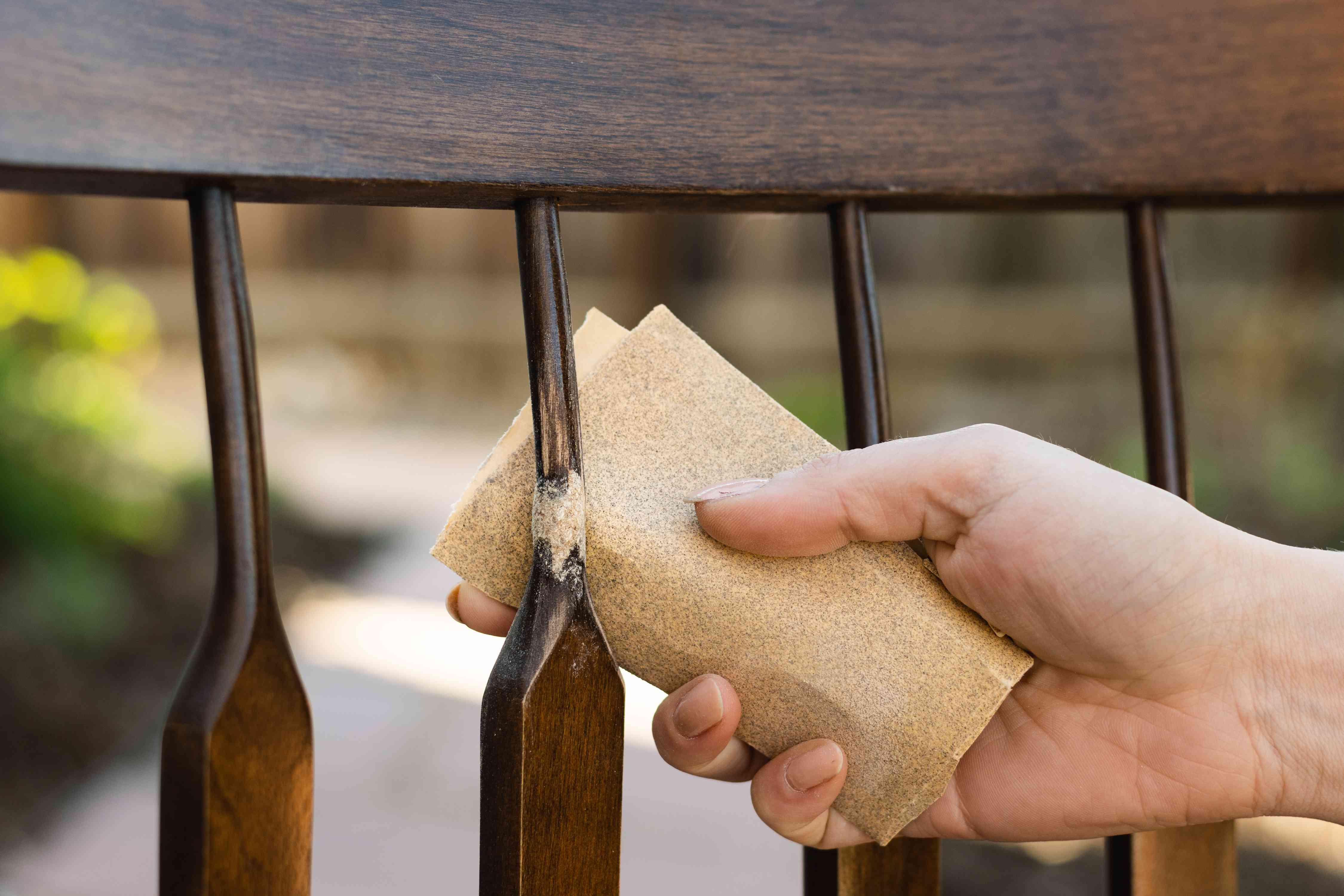 Wood filler sanded lightly with fine-grit sandpaper