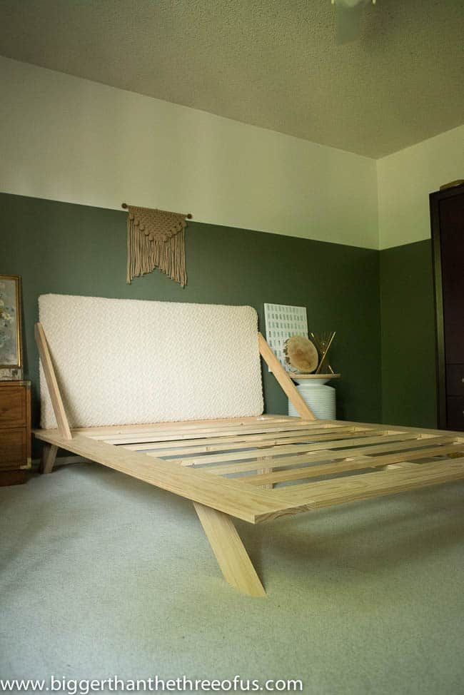 A DIY bed frame in a bedroom