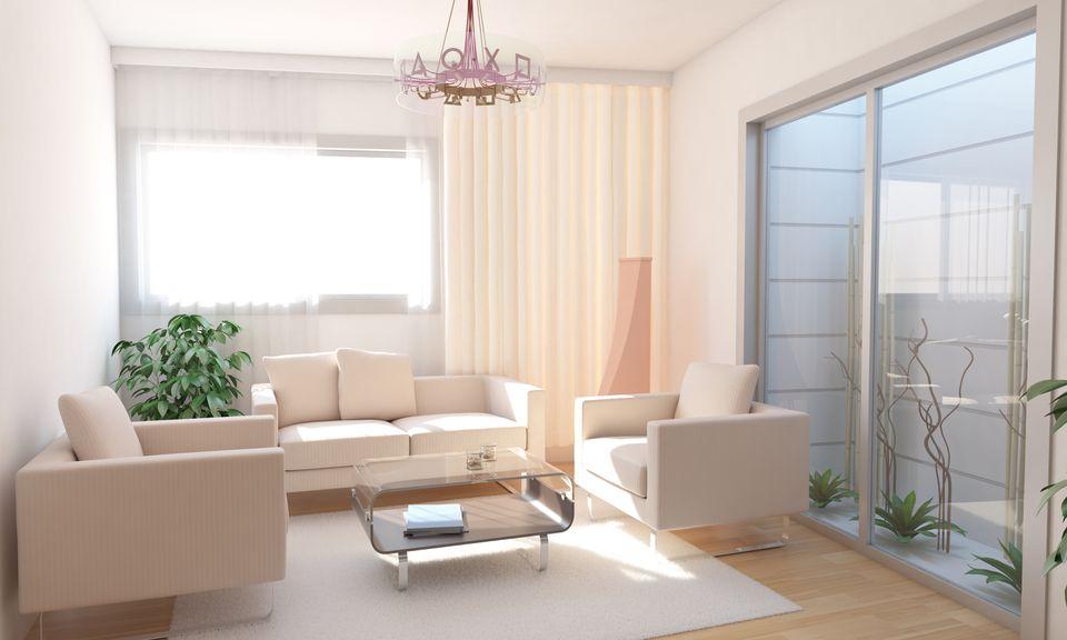 Basement Living Room Interior Design With Minimalist Landscape Design