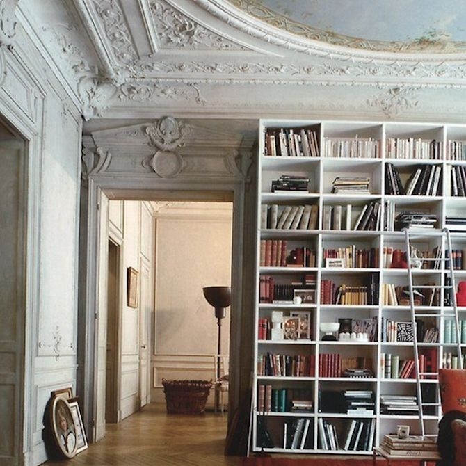 Home library in room with classic architecture