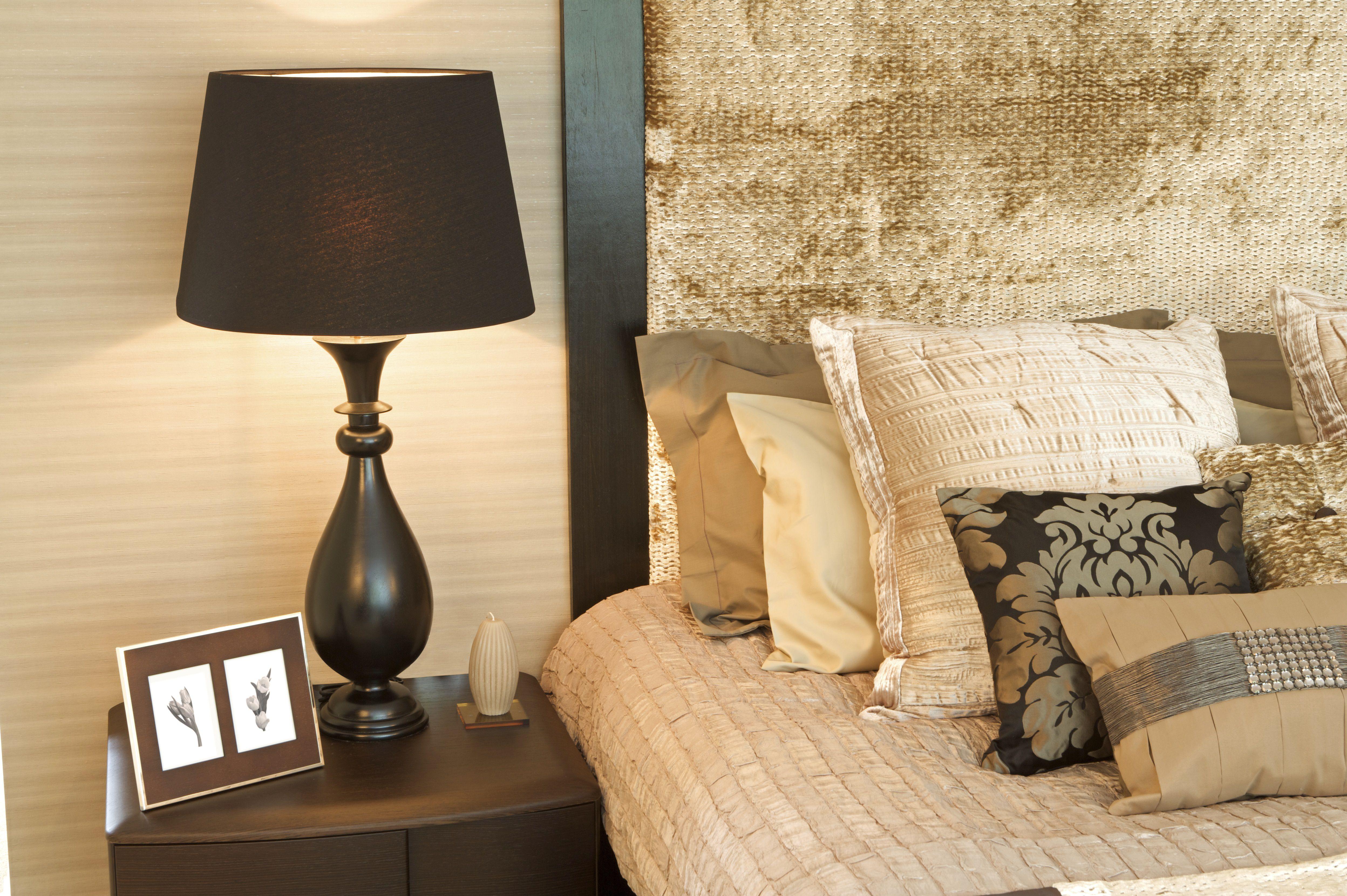 bedside lamp in bedroom