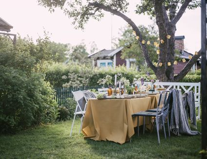 Chairs arranged by table at backyard during garden party