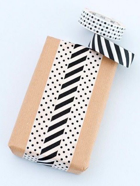 Modern gift wrapping with mixed patterns