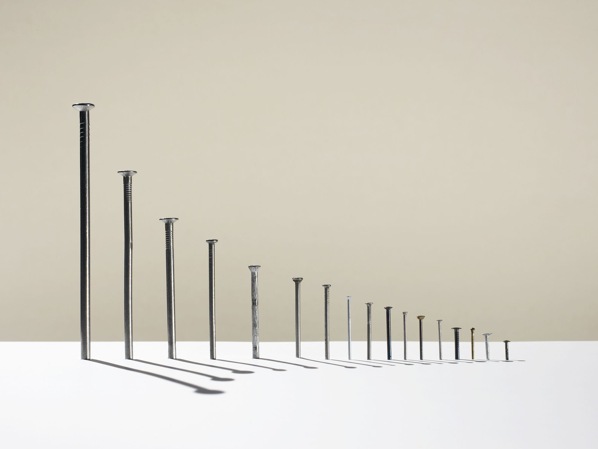 Row of nails of different heights