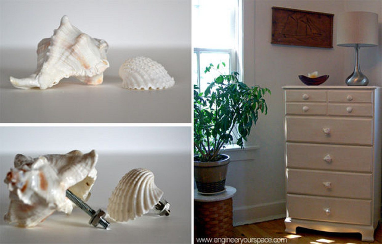 DIY seashell drawer pulls