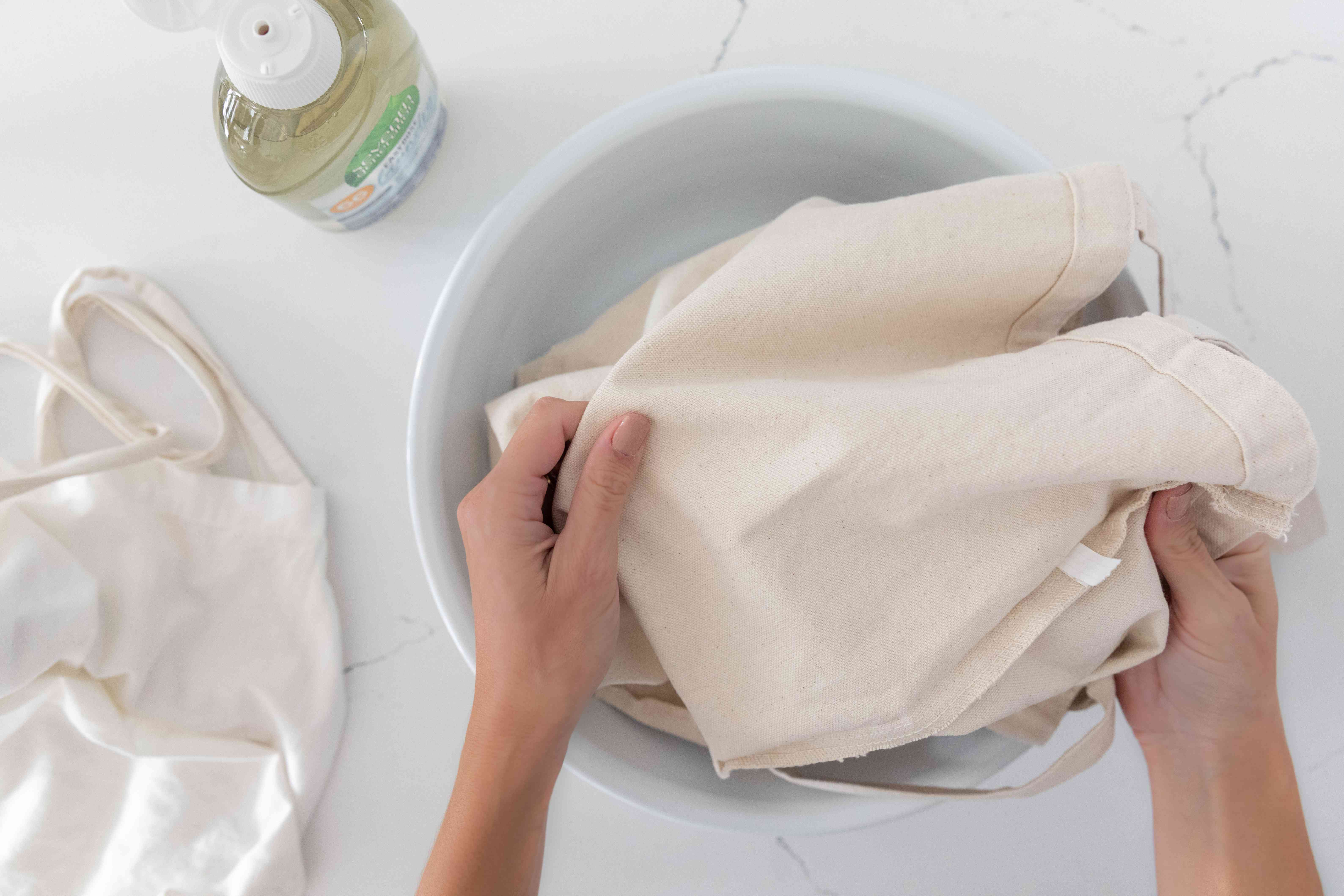 Reusable bag being cleaned inside-out