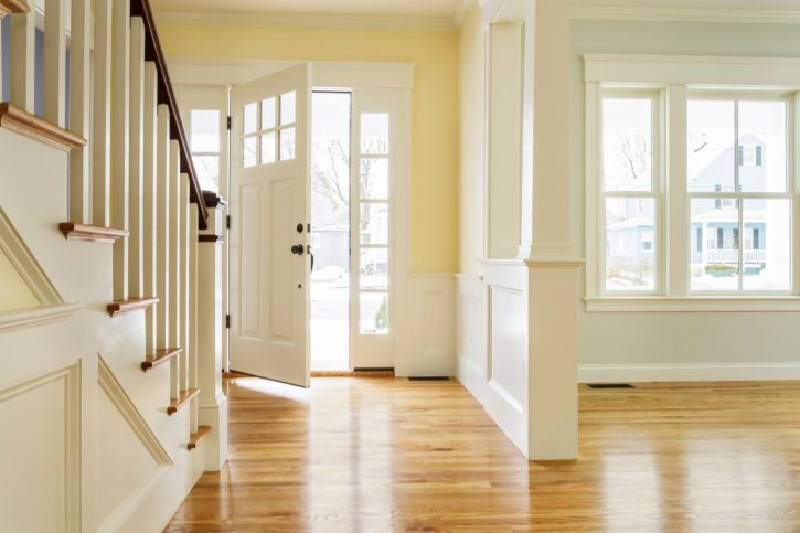 Pre-finished hardwood floors in home