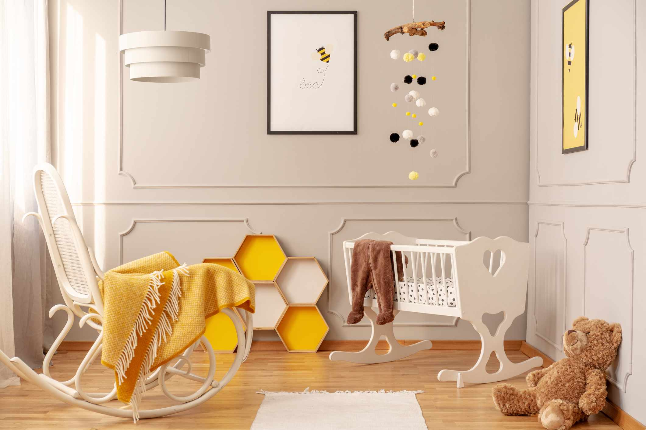 Beige nursery with yellow accents