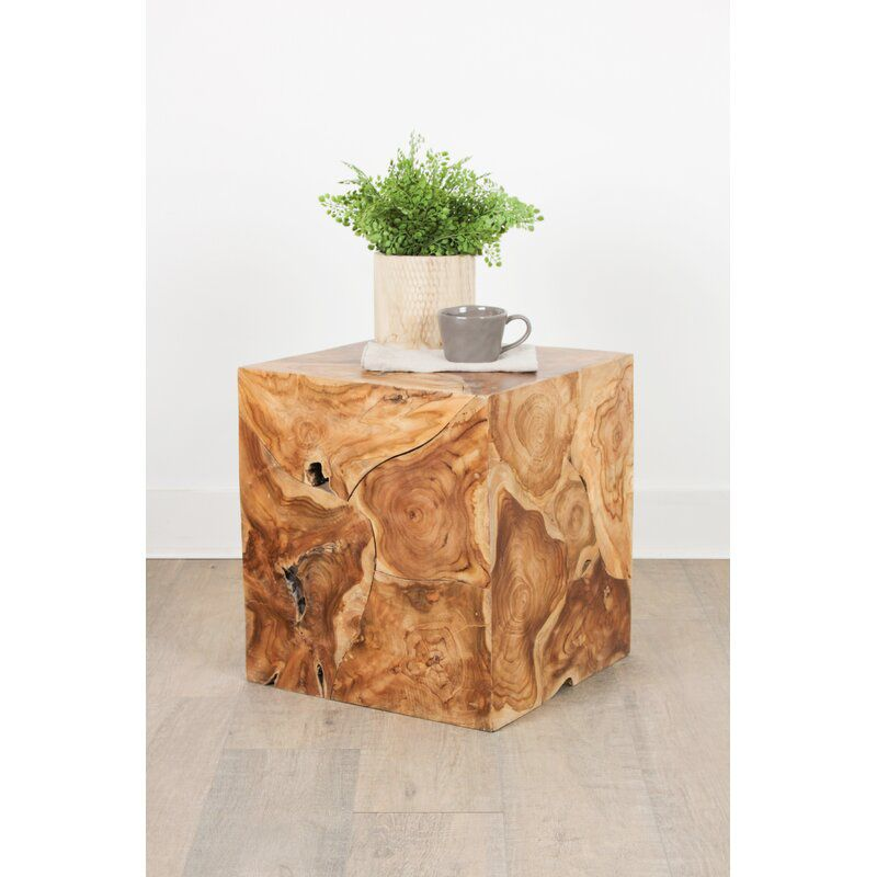 Debord Solid Wood Block End Table