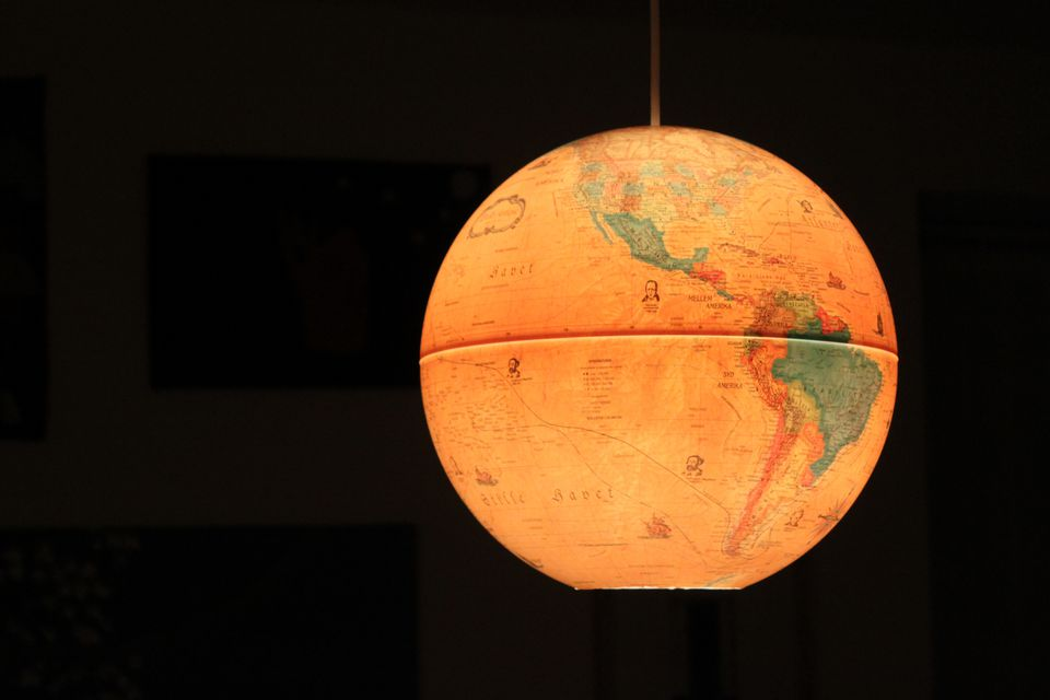 Pendant light made from a globe