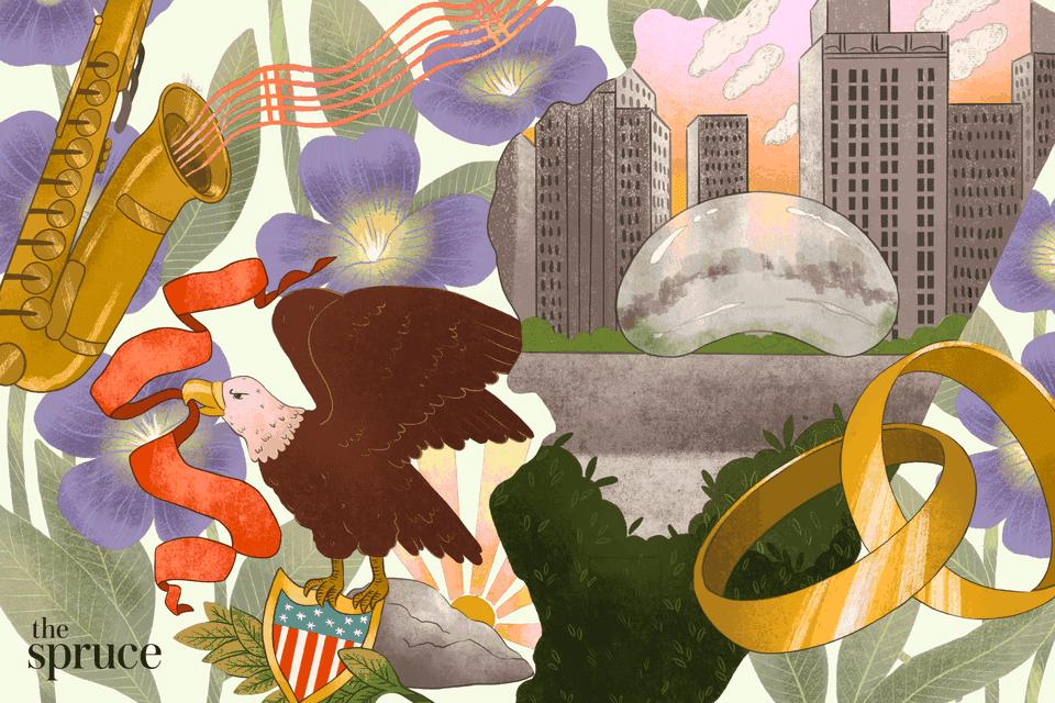 Illustration of wedding rings and Illinois state landmarks and symbols