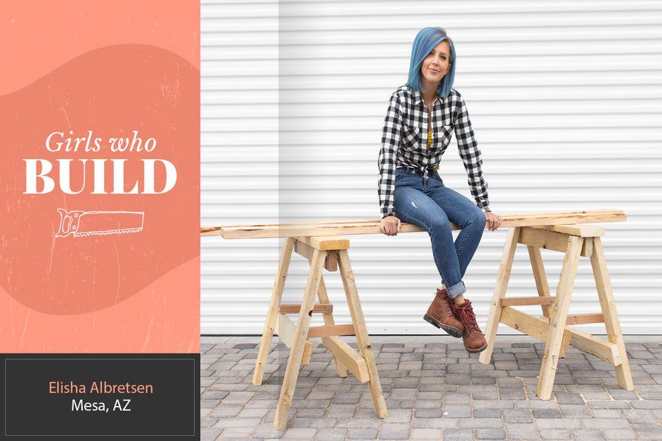 Elisha Albretsen sitting on a workbench for Girls Who Build