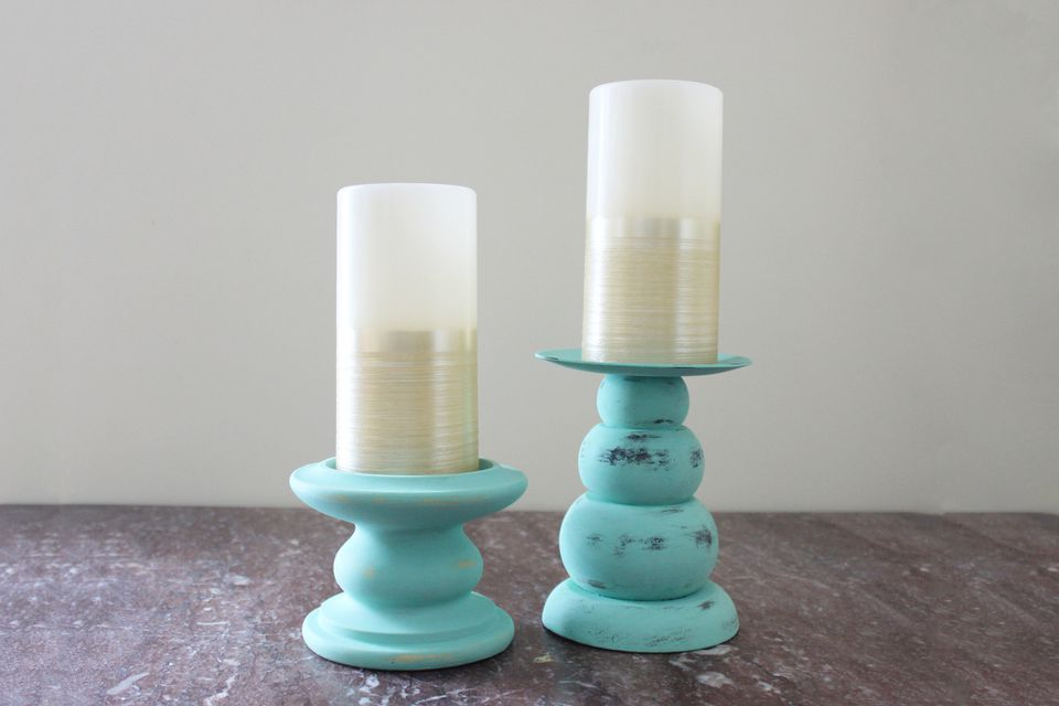 DIY Chalk Painted Candlesticks