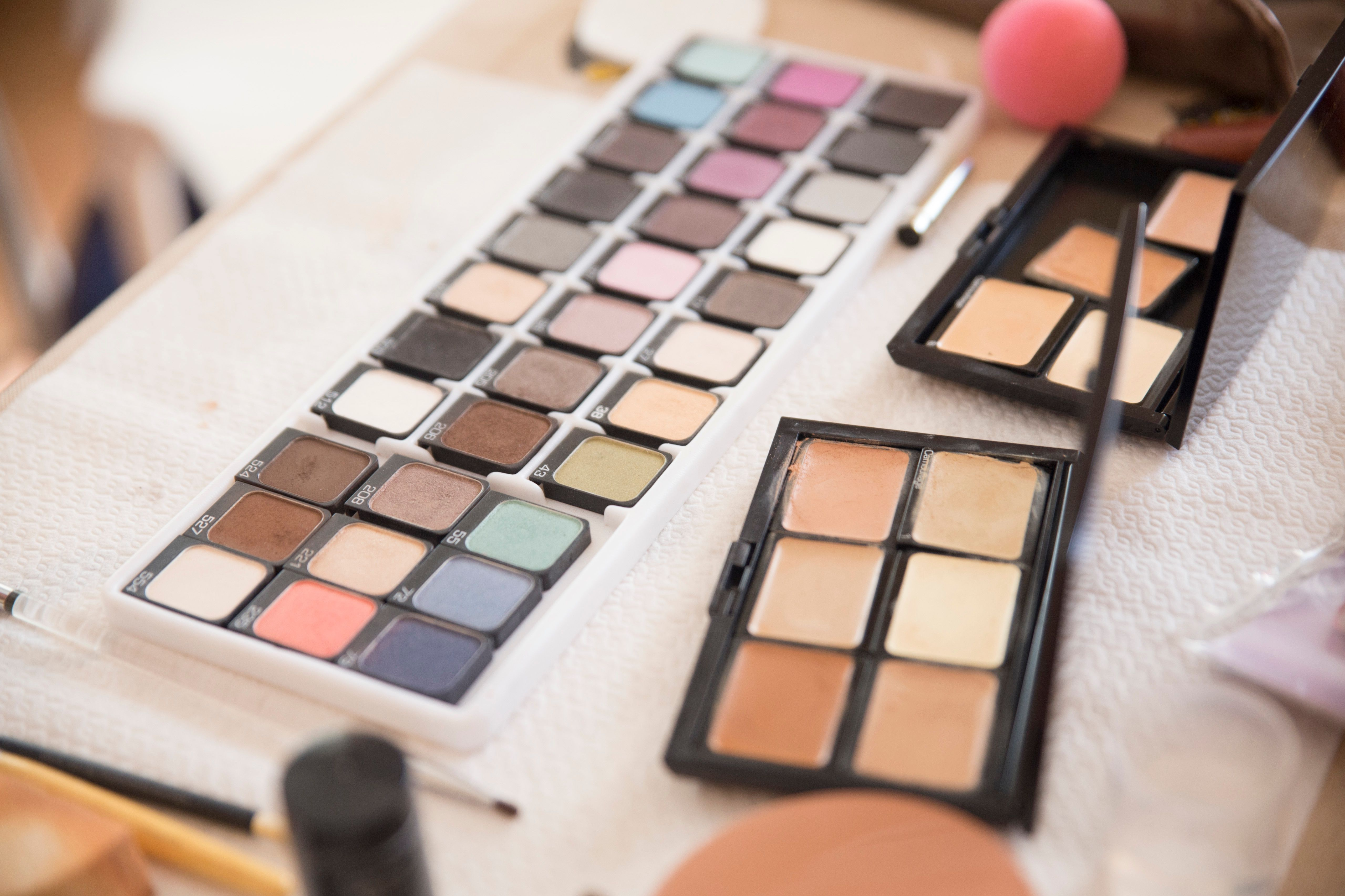 Close-up of make up on table