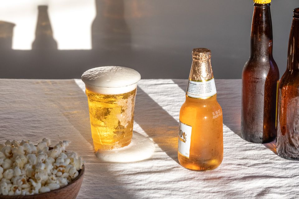 beer spilling out onto a table